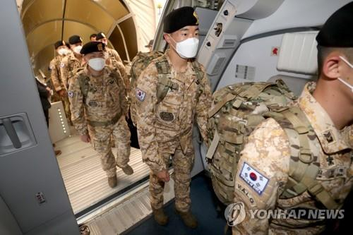 This photo provided by the Ministry of National Defense shows troops departing for the United Arab Emirates on June 30, 2020, to replace members of the South Korean Akh special forces unit stationed in the Arab nation. (PHOTO NOT FOR SALE) (Yonhap)