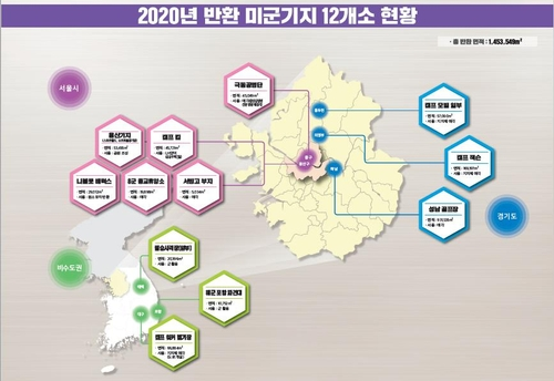 This image provided by the defense ministry on Dec. 11, 2020, shows 12 U.S. military sites that were returned to South Korean control. (PHOTO NOT FOR SALE) (Yonhap)