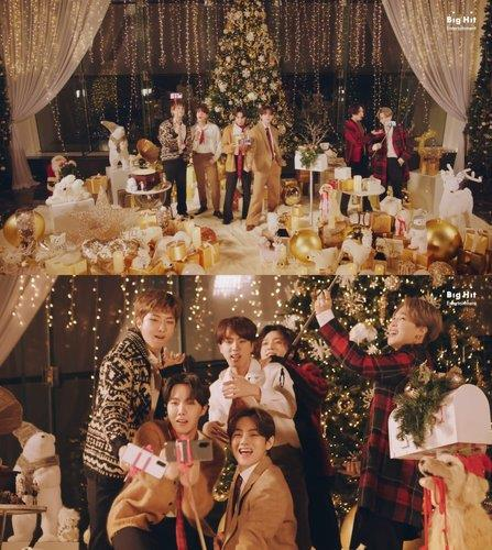 "These photos, provided by Big Hit Entertainment, show BTS singing in the music video for the holiday remix version of its hit song ""Dynamite."" (PHOTO NOT FOR SALE) (Yonhap)"