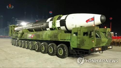 Shown in this image captured from Korean Central Television footage on Oct. 10, 2020, is North Korea's new intercontinental ballistic missile (ICBM), which was displayed during a military parade held in Pyongyang to mark the 75th founding anniversary of the ruling Workers' Party. (For Use Only in the Republic of Korea. No Redistribution) (Yonhap)