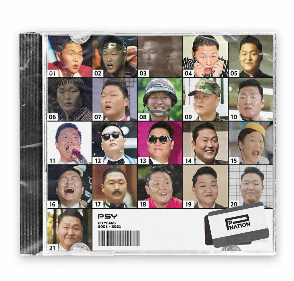 This screenshot from music label P Nation's Instagram account on Jan. 18, 2021, shows photos marking the evolution of Psy on the occasion of the singer's 20th anniversary. (PHOTO NOT FOR SALE) (Yonhap)