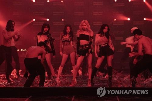 This photo, provided by YG Entertainment, shows BLACKPINK performing during the group's livestream concert on Jan. 31, 2021. (PHOTO NOT FOR SALE) (Yonhap)