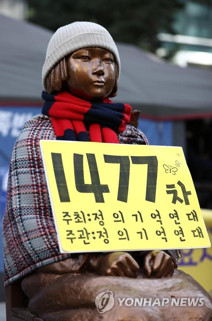 This file photo, taken Feb. 3, 2021, shows a statue symbolizing victims of Japan's wartime sexual slavery in Seoul. (Yonhap)