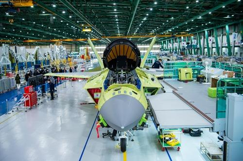 This file photo taken on Feb. 24, 2021, and provided by the arms procurement agency, shows a prototype of South Korea's first indigenous fighter jet, the KF-X, at a Korea Aerospace Industries (KAI) plant in the southeastern city of Sacheon. (PHOTO NOT FOR SALE) (Yonhap)