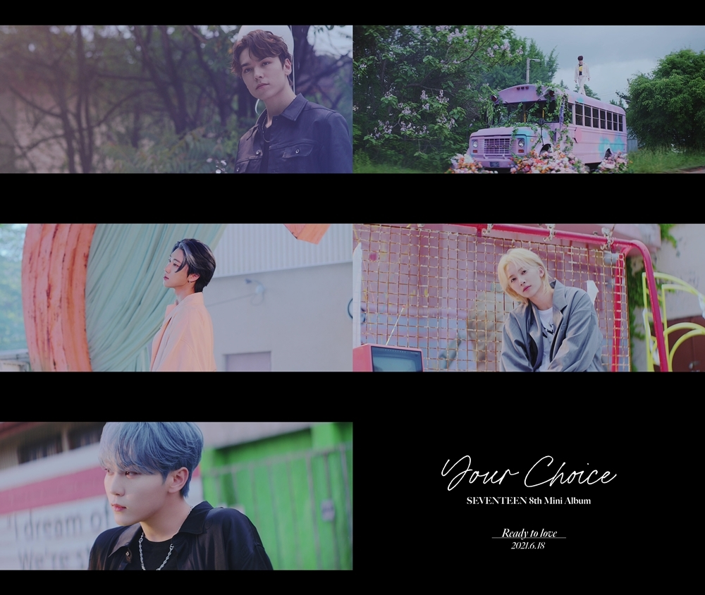"""This photo, provided by Pledis Entertainment, shows screenshots from the music video for Seventeen's new song """"Ready to Love."""" (PHOTO NOT FOR SALE) (Yonhap)"""