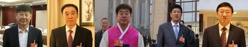 왼쪽부터 김경철 부원장, 조룡호 주임, 리성범 현장, 김동호 서기, 박송렬 주임.