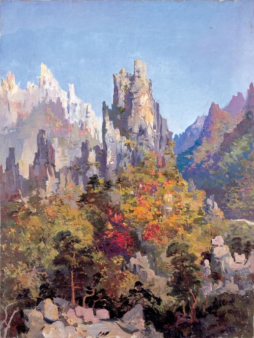 변월룡, 햇빛 찬란한 금강산, 캔버스에 유채, 78×59cm, 1953