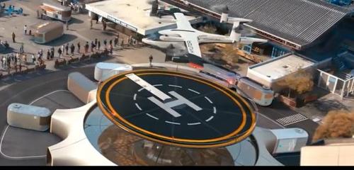 허브에 착륙하는 PAV(개인용 비행체)