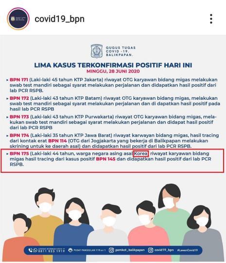 인도네시아 발릭파판서 한국인 첫 코로나19 확진
