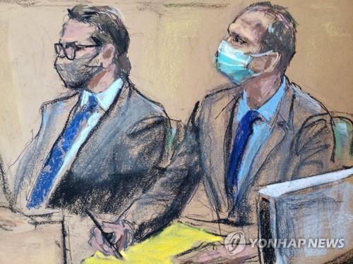 전 미니애폴리스 경찰관 데릭 쇼빈(오른쪽)과 변호인 에릭 넬슨이 29일(현지시간) 미 미네소타주 헤너핀카운티 법원에 앉아 있는 모습을 스케치한 그림. [로이터=연합뉴스]