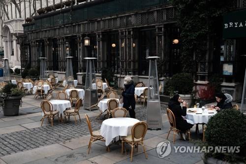 지난 3월 1일(현지시간) 미국 뉴욕 맨해튼의 한 식당. 좌석이 거의 다 비어 있다. [AFP=연합뉴스 자료사진]