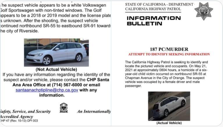 캘리포니아 고속도로 순찰대가 공개한 총격범 차량 사진