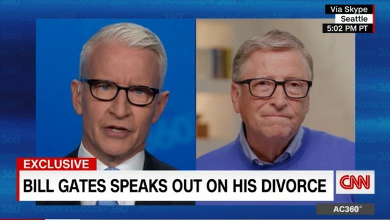 CNN 앵커 앤더슨 쿠퍼(왼쪽)와 인터뷰를 하는 빌 게이츠(오른쪽).[CNN 홈페이지 캡처. 재판매 및 DB 금지]