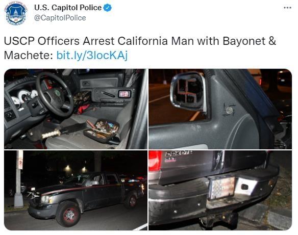 미국 워싱턴DC 의사당 근처에서 총검 등 불법무기를 싣고 가다 검거된 차량 [미 의회경찰 트위터 캡처. DB 및 재판매 금지]