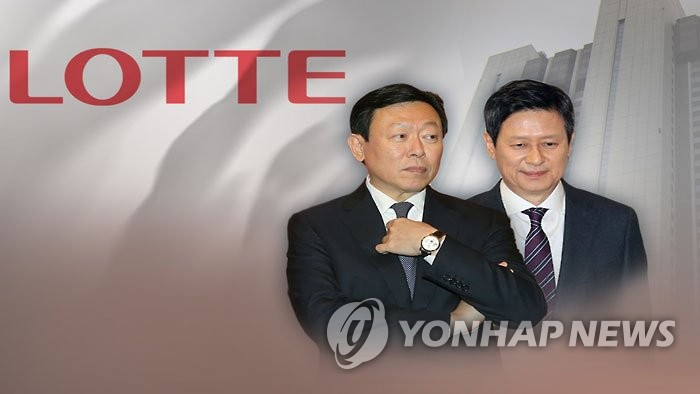 This undated file photo shows two sons of late Lotte Group Honorary Chairman Shin Kyuk-ho -- Dong-joo (R) and Dong-bin. (Yonhap)