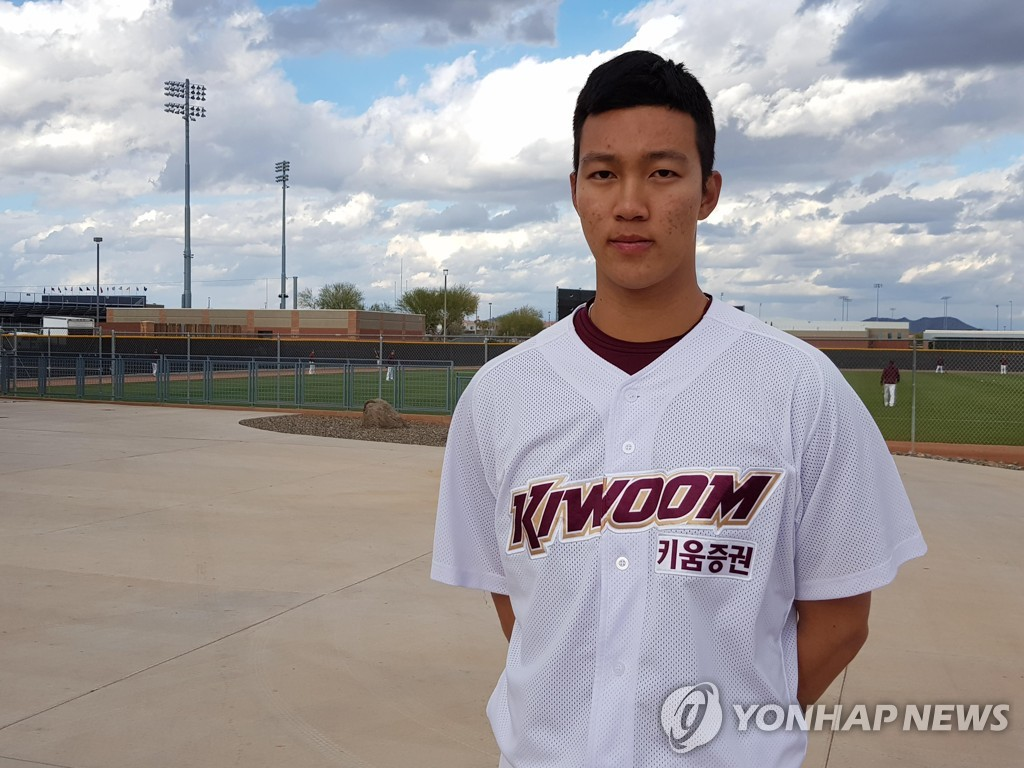 This file photo, from Feb. 19, 2019, shows Kiwoom Heroes pitcher An Woo-jin at the team's spring training site in Peoria, Arizona. (Yonhap)
