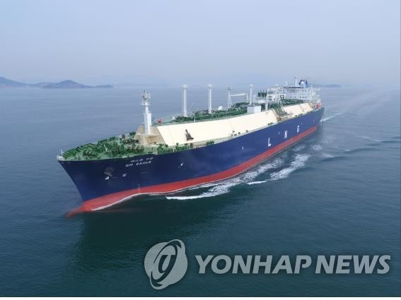 This photo provided by Korea Line Corp. shows an LNG carrier. (PHOTO NOT FOR SALE) (Yonhap)