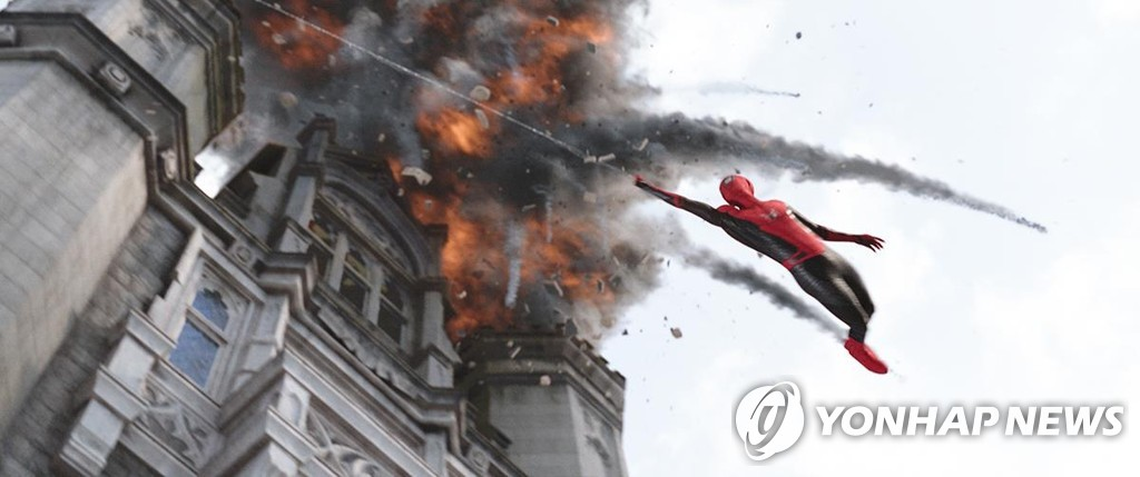 "This image provided by Sony Pictures shows a scene from ""Spider-Man: Far From Home."" (PHOTO NOT FOR SALE) (Yonhap)"