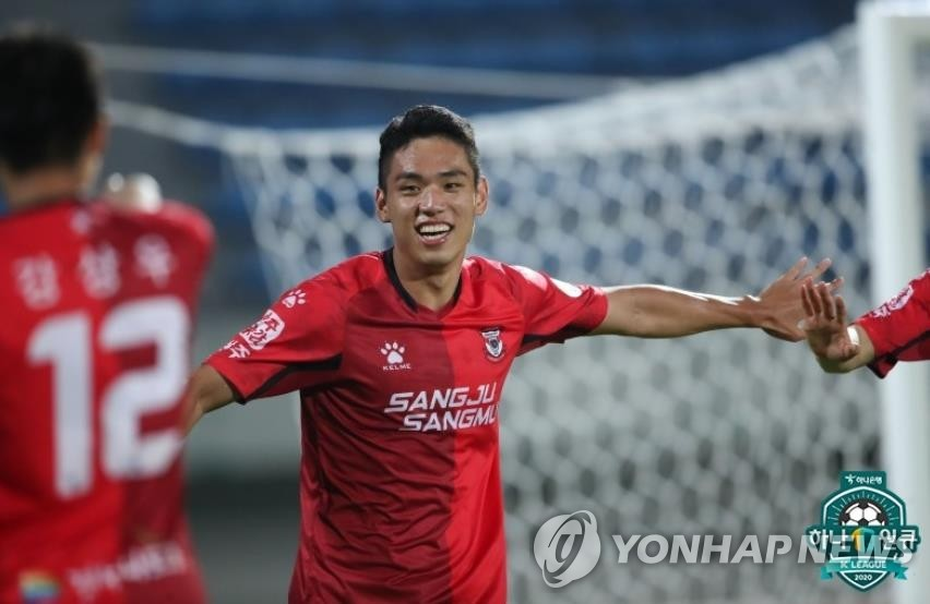 This file photo provided by the Korea Professional Football League on July 20, 2020, shows Sangju Sangmu forward Oh Se-hun. (PHOTO NOT FOR SALE) (Yonhap)