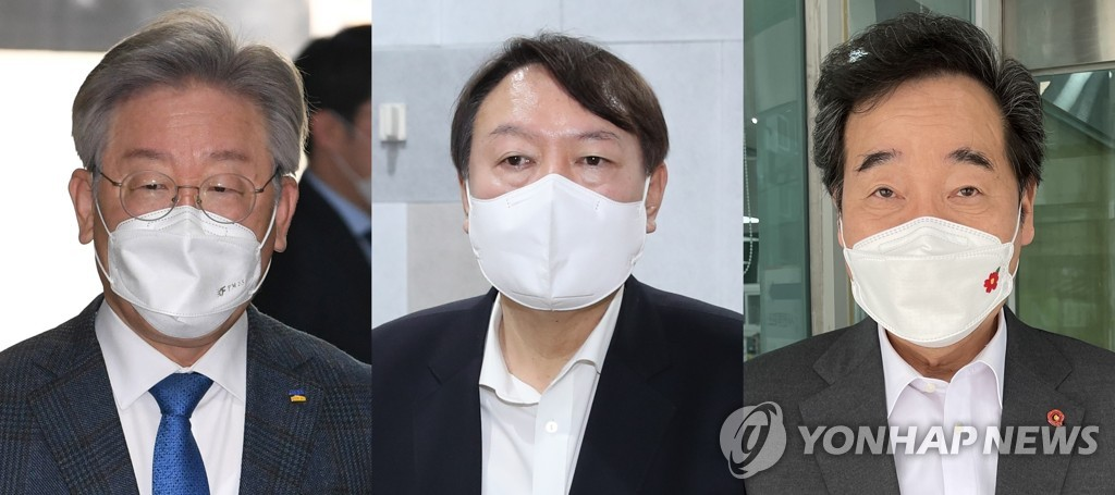 This composite file image shows potential presidential candidates Lee Jae-myung, Yoon Seok-youl and Lee Nak-yon (from L to R). (PHOTOS NOT FOR SALE) (Yonhap)