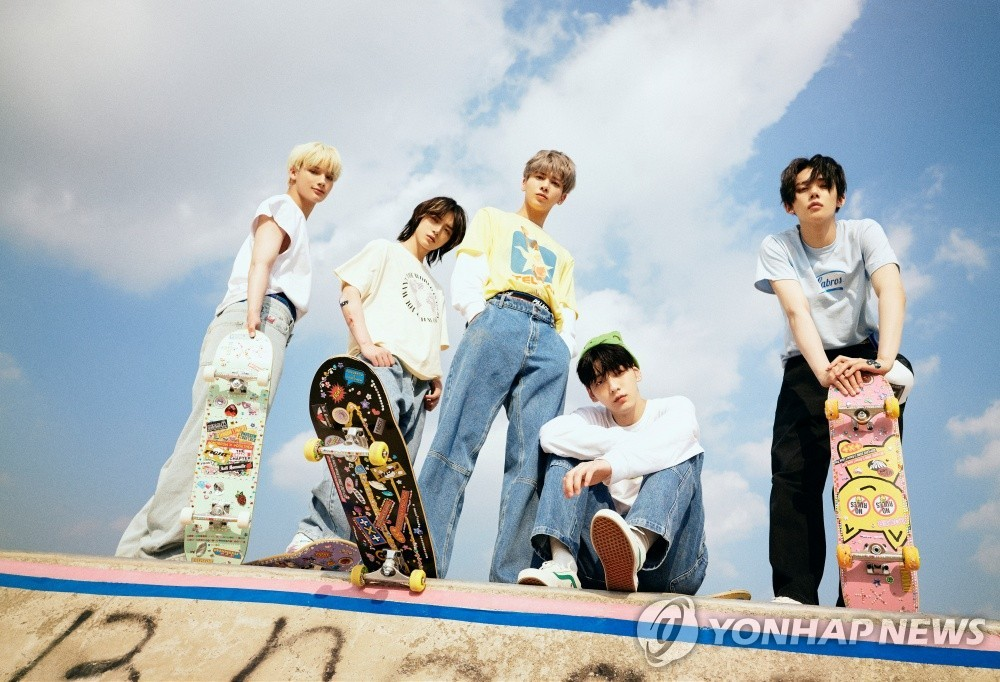 This file photo, provided by Big Hit Music, shows K-pop boy band Tomorrow X Together (TXT). (PHOTO NOT FOR SALE) (Yonhap)