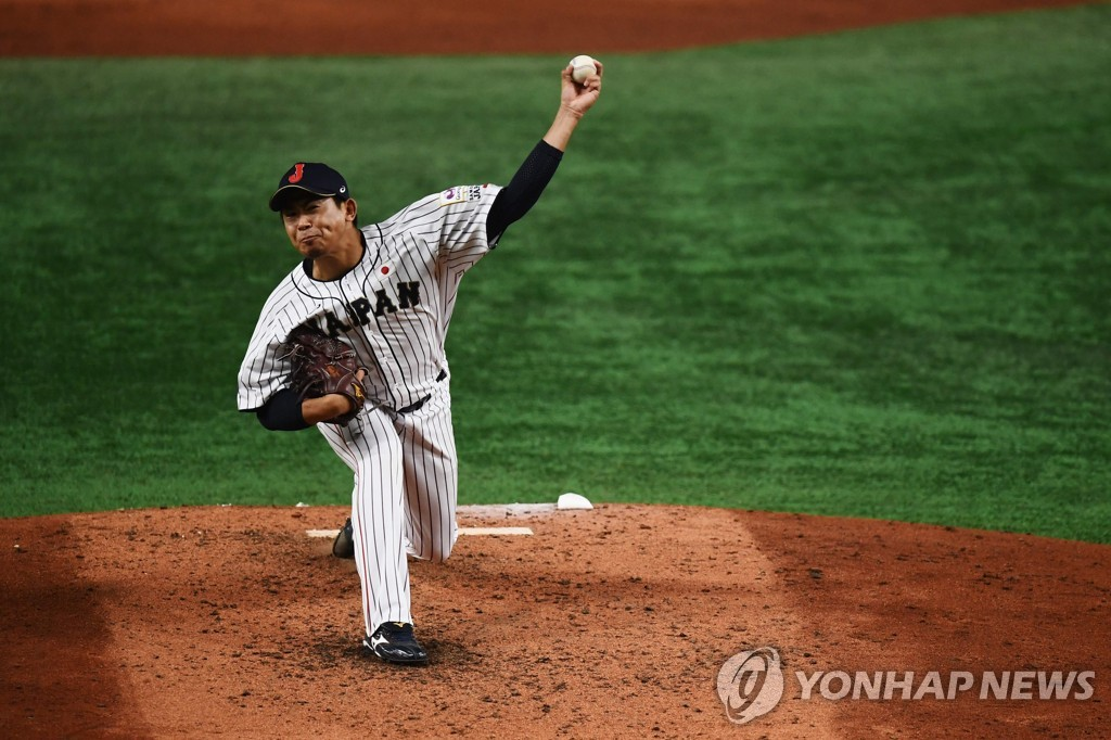 In this AFP photo, Shota Imanaga of Japan pitches against Mexico during the teams' Super Round game at the World Baseball Softball Confederation (WBSC) Premier12 at Tokyo Dome in Tokyo on Nov. 13, 2019. (Yonhap)