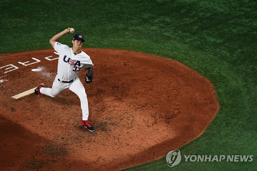 In this AFP photo, Noah Song of the United States pitches against Chinese Taipei in the top of the eighth inning of the teams' Super Round game at the World Baseball Softball Confederation (WBSC) Premier12 at Tokyo Dome in Tokyo on Nov. 15, 2019. (Yonhap)