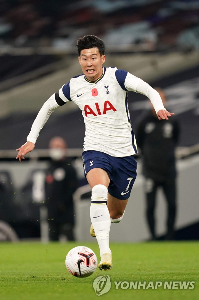 In this AFP photo, Son Heung-min of Tottenham Hotspur dribbles the ball during a Premier League match against Brighton & Hove Albion at Tottenham Hotspur Stadium in London on Nov. 1, 2020. (Yonhap)
