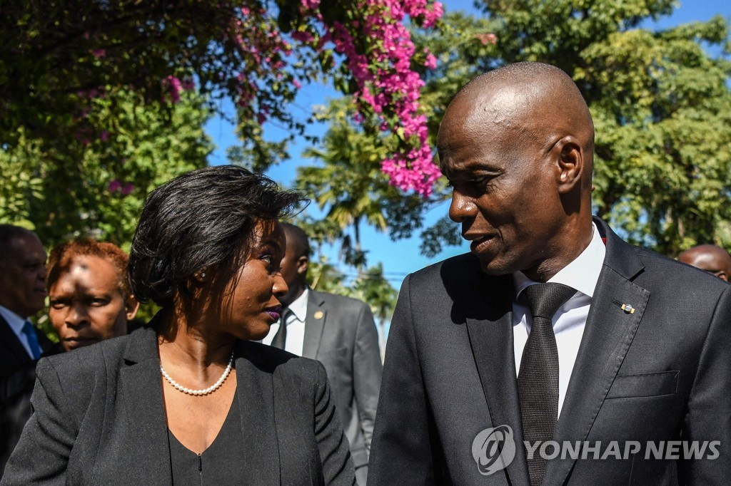 2020년 당시 모이즈 아이티 대통령(오른쪽) 부부