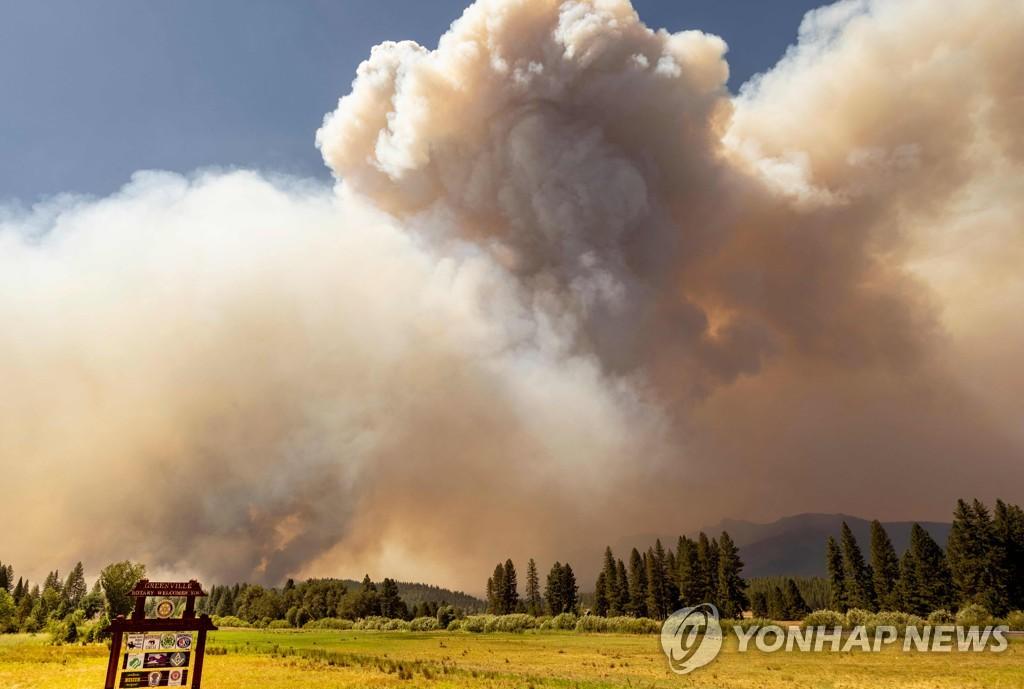 미국 캘리포니아주 북부 그린빌 지역 근처로 다가오고 있는 산불[AFP=연합뉴스]