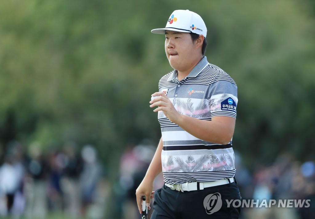 In this Getty Images photo, Im Sung-jae of South Korea reacts on the 10th green during the final round of the Arnold Palmer Invitational Bay Hill Club & Lodge in Orlando, Florida, on March 8, 2020. (Yonhap)
