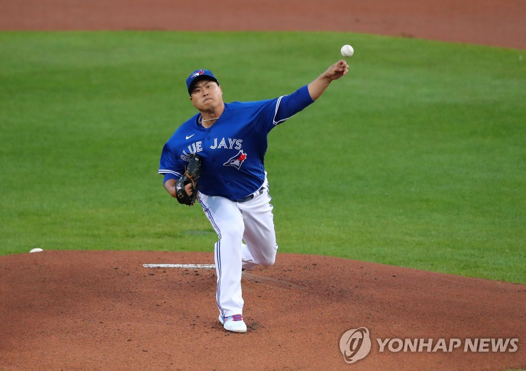 In this Getty Images photo, Ryu Hyun-jin of the Toronto Blue Jays pitches against the New York Yankees in the top of the first inning of a Major League Baseball regular season game at Sahlen Field in Buffalo, New York, on Sept. 24, 2020. (Yonhap)