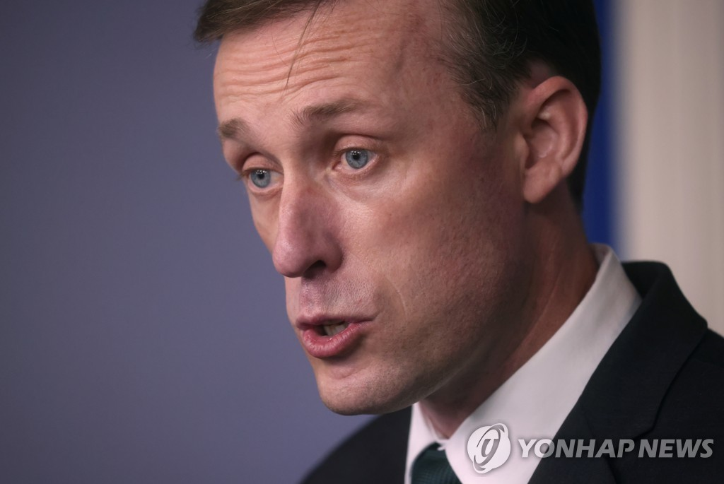 This photo, released on Aug. 17, 2021, by Reuters, shows U.S. National Security Advisor Jake Sullivan speaking during a press briefing about the situation in Afghanistan at the White House in Washington. (Yonhap)