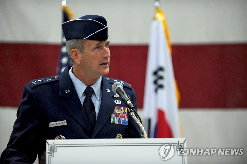 In this file photo, taken Dec. 19, 2014, then U.S. 7th Air Force commander Terrence O'Shaughnessy speaks during his inauguration at the Osan Air base in Osan, Gyeonggi Province. He is currently the commander of the U.S. Northern Command and North American Aerospace Defense Command. (Yonhap)