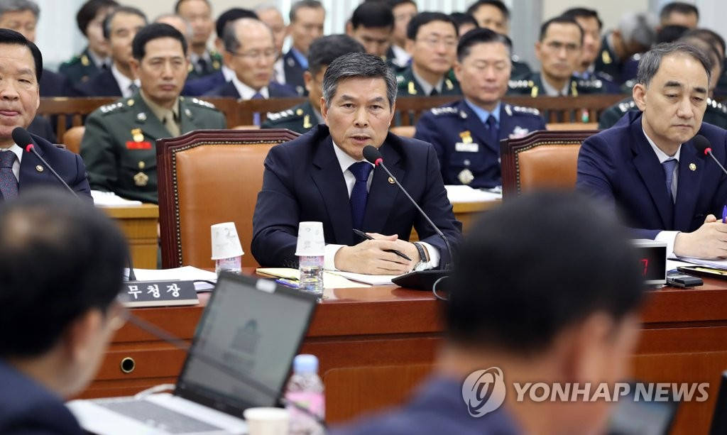 Defense Minister Jeong Kyeong-doo speaks to lawmakers during a National Assembly session in Seoul on Oct. 29, 2018. (Yonhap)
