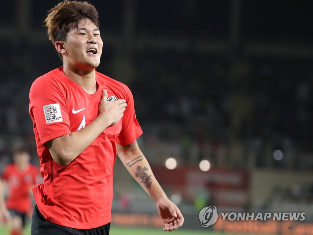 This file photo taken on Jan. 17, 2019, shows South Korea national football team defender Kim Min-jae celebrating after scoring a goal against China at the 2019 AFC Asian Cup in Abu Dhabi, United Arab Emirates. (Yonhap)