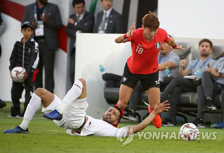 South Korea's Hwang Ui-jo (R) dribbles past a Qatari defender during the 2019 AFC Asian Cup quarterfinal match at Zayed Sports City Stadium in Abu Dhabi, the United Arab Emirates, on Jan. 25, 2019. (Yonhap)