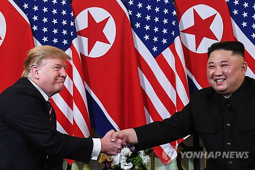 (3rd LD) (US-NK summit) Kim Jong-un, Trump meet in Hanoi, vow successful talks