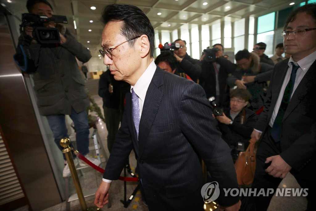Kenji Kanasugi, director general of the Japanese foreign ministry's Asian and Oceanian affairs bureau, enters the South Korean foreign ministry building in Seoul on March 14, 2019. (Yonhap)