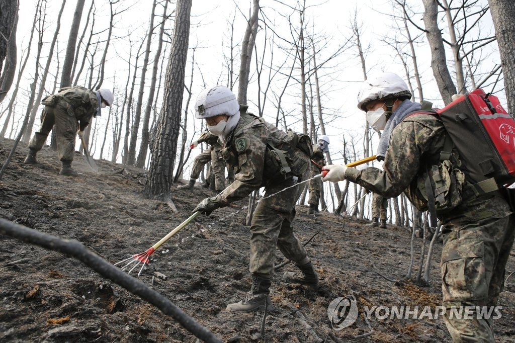 South Korean soldiers are deployed to find and put out embers on a mountain in Gangneung, 237 kilometers east of Seoul, on April 6, 2019, as the country works to fully contain the blaze that engulfed the eastern province, in this photo provided by the 8th Army Corps. (Yonhap)