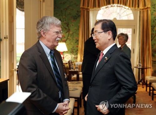 (LEAD) U.S. security adviser Bolton to meet top S. Korean officials this week: Cheong Wa Dae