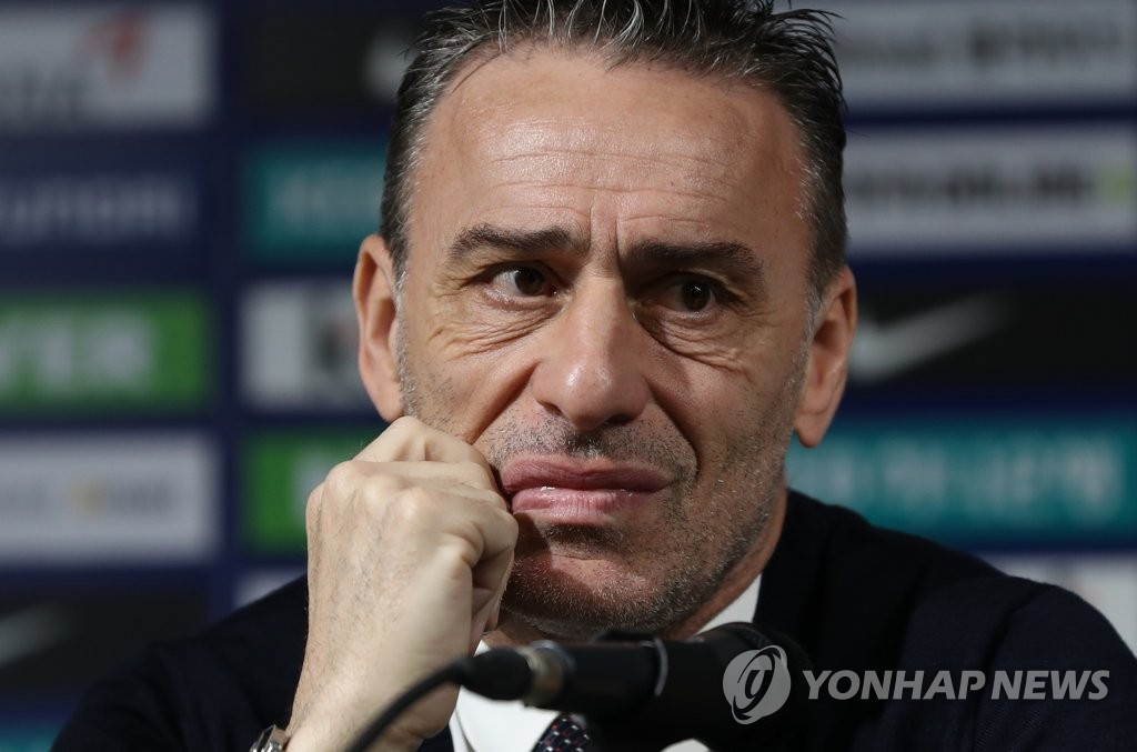South Korea men's national football head coach Paulo Bento listens to a question during a press conference at the Korea Football Association House in Seoul on May 27, 2019. (Yonhap)