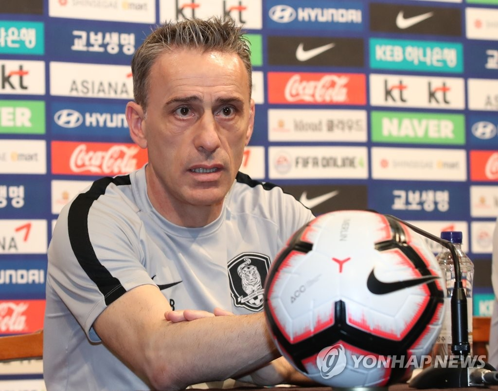 South Korea men's national football team head coach Paulo Bento speaks at a press conference at the National Football Center in Paju, Gyeonggi Province, on June 3, 2019. (Yonhap)
