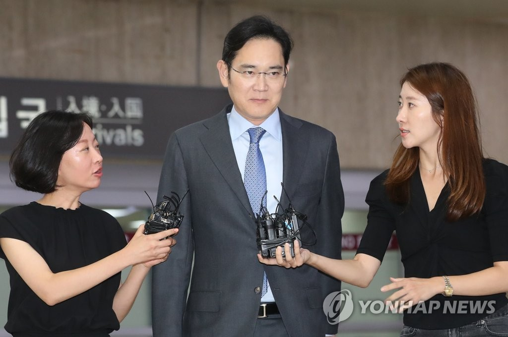 Samsung Electronics Vice Chairman Lee Jae-yong arrives at Gimpo International Airport on July 12, 2019, from Japan. (Yonhap)
