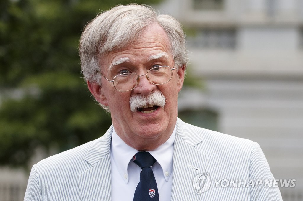 Then U.S. National Security Advisor John Bolton speaks in a media interview at the White House in Washington on July 30, 2019, in this photo released by the Associated Press. (Yonhap)