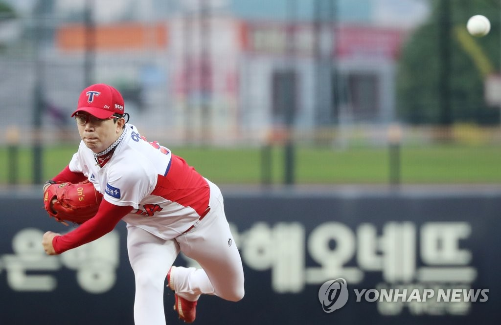 In this file photo from Aug. 28, 2019, Yang Hyeon-jong of the Kia Tigers throws a pitch against the Samsung Lions during a Korea Baseball Organization regular season game at Gwangju-Kia Champions Field in Gwangju, 330 kilometers south of Seoul. (Yonhap)