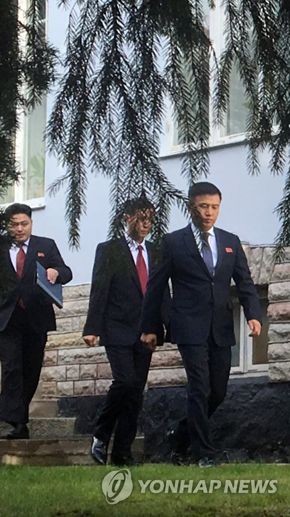 North Korean officials leave the North Korean Embassy in Stockholm, apparently to meet their U.S. counterparts on Oct. 4, 2019. (Yonhap)