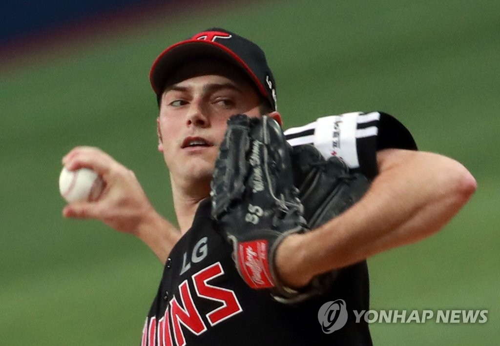 Tyler Wilson of the LG Twins throws a pitch against the Kiwoom Heroes in Game 1 of the teams' first round Korea Baseball Organization playoff series at Gocheok Sky Dome in Seoul on Oct. 6, 2019. (Yonhap)