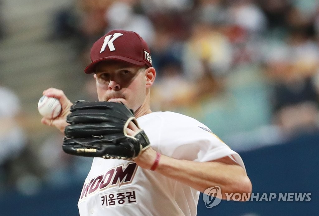 Jake Brigham of the Kiwoom Heroes throws a pitch against the LG Twins in Game 1 of the teams' first-round Korea Baseball Organization playoff series at Gocheok Sky Dome in Seoul on Oct. 6, 2019. (Yonhap)