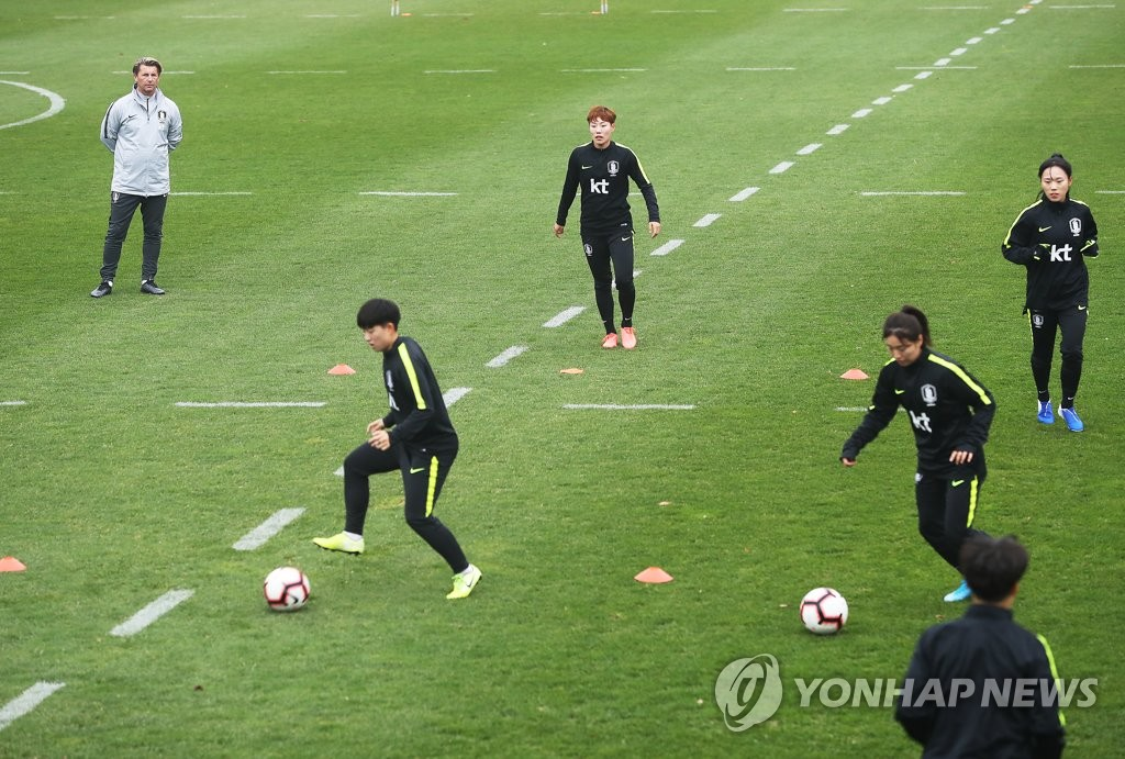 In this file photo from Nov. 15, 2019, members of the South Korean women's national football training squad practice at the National Football Center in Paju, Gyeonggi Province. (Yonhap)